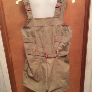 Tan with Red Stitching Romper